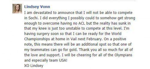 Lindsey Vonns Sotschi-Absage kam via Facebook: das US-Ski-Ass wird nach ihren beiden Kreuzbandrissen nicht rechtzeitig fit. Foto: FB