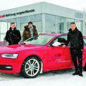 Sportstars mit Audi im Schnee
