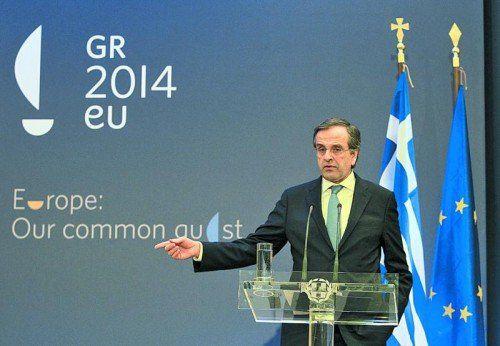 """Vorsitz-Motto des griechischen Regierungschefs Antonis Samaras: """"Hoffnung"""" – für die Überwindung der Finanzkrise. Foto: EPA"""