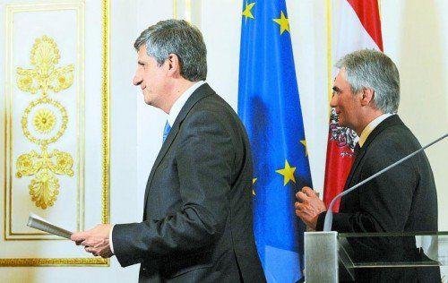 Wollen von Wallners Forderung nach einer Modellregion nichts wissen: Bundeskanzler Faymann (r.) und Vizekanzler Spindelegger. Foto: APA
