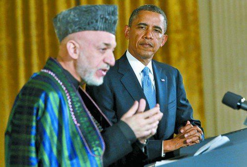 Zu Besuch bei US-Präsident Barack Obama (im Jänner 2013): Ohne Hilfe von außen kann sich Hamid Karsai nicht lange behaupten. Foto: RTS