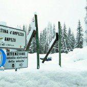 In Cortina hat es zu viel Schnee