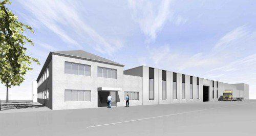 Bis September ist die neue Halle im Kunert-Industriepark fertig.