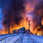 Entgleister Frachtzug löste Großbrand aus