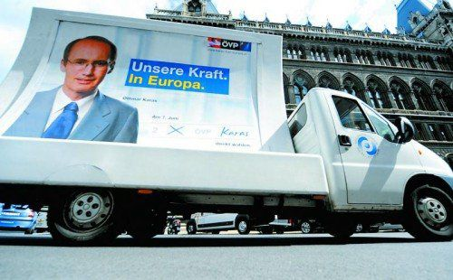 ÖVP-Spitzenkandidat Othmar Karas auf einem Plakat, mit dem er vor fünf Jahren in die EU-Wahl gezogen ist. Foto: APA