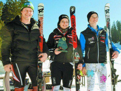 Die neuen Vorarlberger Ski-Landesmeister: Bernhard Graf, Pia Schmid und Julian Kienreich. Foto: privat