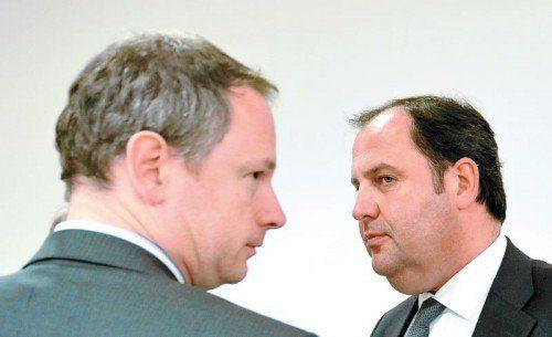Verhandelten die Hypo-Verstaatlichung: Die damaligen Finanzminister Bayerns und Österreichs, Georg Fahrenschon (l.) und Josef Pröll. Foto: APA