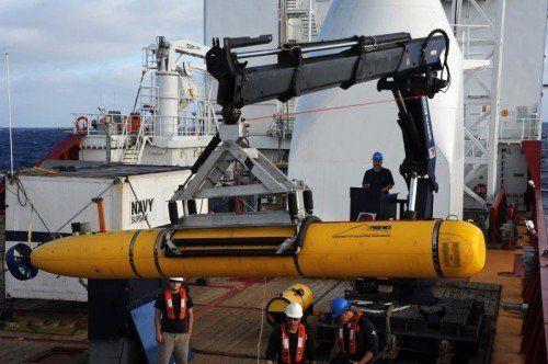 Auf das Mini-U-Boot stützt sich derzeit die ganze Hoffnung, die seit dem 8. März verschollene Boeing der Malaysia Airlines zu finden. Foto: AP