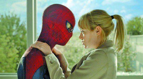 """Bei """"The Amazing Spider-Man 2"""" kommt auch die Liebe nicht zu kurz.  Foto: Sony"""