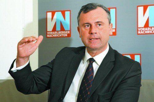 """Der 3. Nationalratspräsident Norbert Hofer zu Gast bei den VN: """"Wir sind regierungswillig"""".  Foto: VN/Hofmeister"""