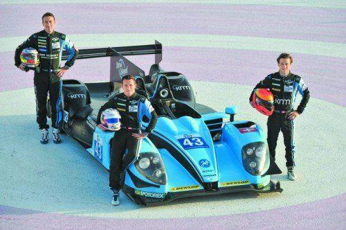 Der Morgan-LMP2 von Christian Klien – hier mit den Kollegen Brandela (l.) u. Hirsch – ist morgen bei BMW-Unterberger zu bestaunen. Foto: V.A.