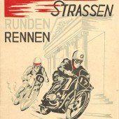 Der Orginal-Ankünder für das Straßenrennen in Dornbirn 1949.