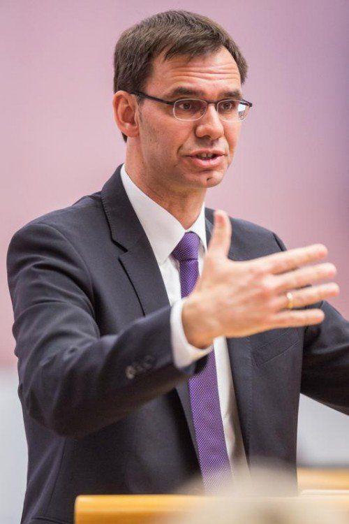 Die 2. Sitzung des XXIX. Vorarlberger Landtags im Jahr 2014. Landeshauptmann Markus Wallner (ÖVP),
