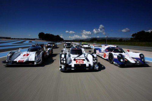 Die neuen WEC-LMP1-Sportwagenboliden von Audi, Porsche und Toyota (von links). Foto: WEC