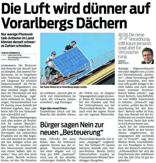 Die VN berichteten am 15. April über die Situation in der Solar-Branche.
