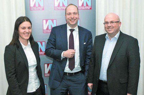 Gastgeber mit Referent: Katharina Herbst mit Dr. Justus Kunz und Michael Märk (r.). Fotos: VN/Paulitsch