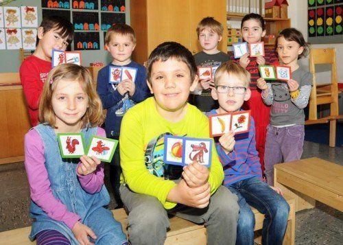 In der Vorschulklasse an der VS Höchst Kirchdorf wird täglich spielerisch mit den Bildkarten geübt.  Fotos: A. Kopf