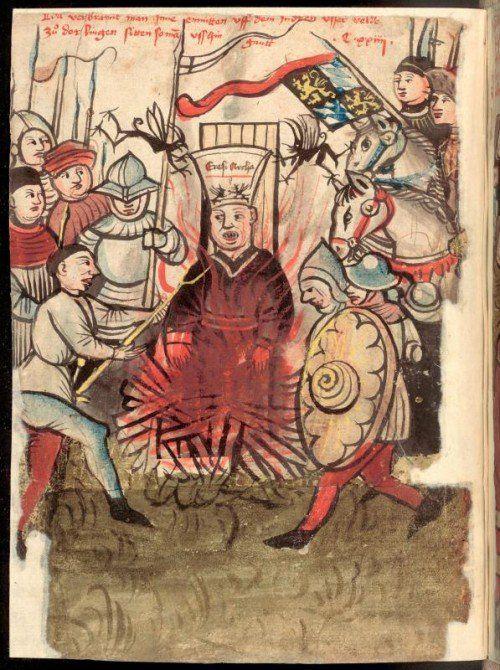 Verbrennung von Jan Hus in Konstanz. Illustration in der Richental-Chronik.  Foto: Nationalbibliothek Prag