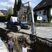 Neue Leitungen werden in Lochau verlegt
