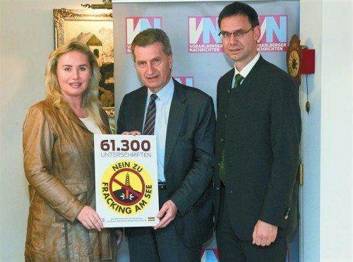 """Oettinger will """"wegen Umweltschutz"""" nicht auf Energiereserven (Schiefergas) verzichten. Im Bild mit VN-CR Daum-Kuzmanovic und LH Wallner."""