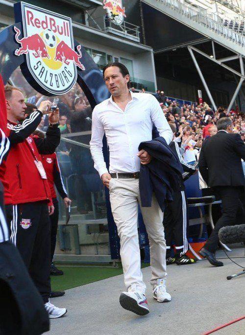 Salzburg-Trainer Roger Schmidt will sich in den nächsten Tagen bezüglich seiner sportlichen Zukunft äußern. Fotos: gepa/