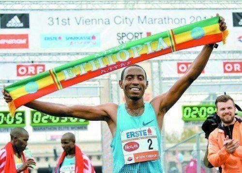 Sieg mit neuem Streckenrekord bei der 31. Auflage des Vienna City Marathons: Getu Feleke. Foto: gepa