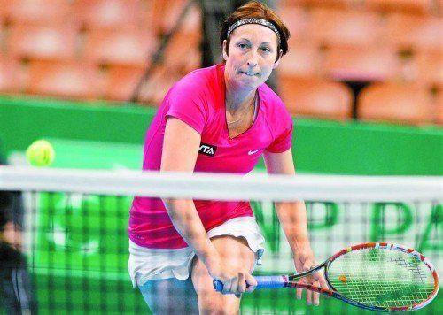 Yvonne Meusburger, Vorarlbergs Sportlerin des Jahres, kämpfte gegen Agnieszka Radwanska eineinhalb Stunden. Foto: apa