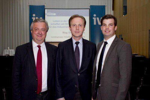 Zwei Präsidenten mit Geschäftsführer: Hubert Bertsch (l.) und Georg Kapsch sowie Mathias Burtscher. Fotos: Franc