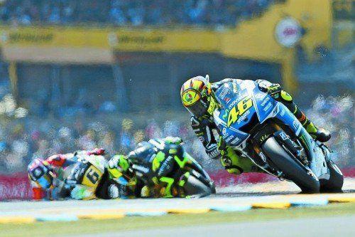 Alt aber gut: Valentino Rossi ist auch nach 299 Grand Prix in der Lage, vorne mitzumischen. Foto: ap