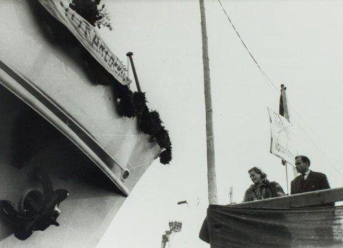 Trude Nagel wurde gefragt, ob sie das Schiff taufen wolle. Das hat sie dann getan, vor 20.000 Menschen und auf den Namen Vorarlberg.