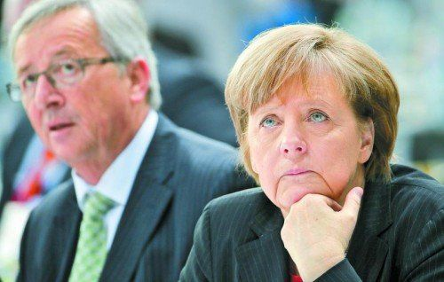 Die deutsche Kanzlerin Merkel will sich auf Juncker als Kommissionspräsidenten noch nicht festlegen: Man müsse gründlich vorgehen. Foto: EPA