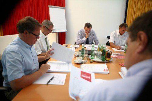 Mit großer Sorgfalt studiert und diskutiert die Jury des Preises die Einreichungen.  Foto: VN/Hartinger