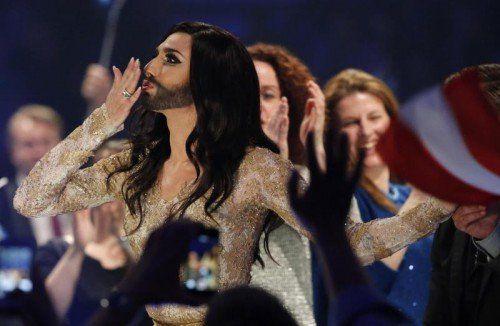 Spürbare Erleichterung: Conchita Wurst nach dem Einzug ins Finale. Foto: Reuters