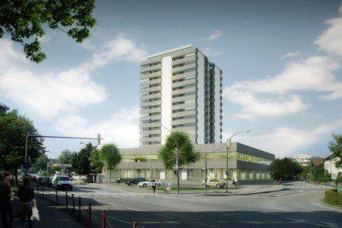 Handels- und Büroflächen auf 4000 Quadratmetern: So soll sich das Gebäude künftig präsentieren.  Foto: Humml