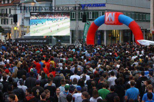 Am Dornbirner Marktplatz werden wieder tausende Fußball-Fans erwartet. foto: vn/hofmeister
