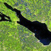 Der Bodensee aus rund 700 Kilometern Höhe
