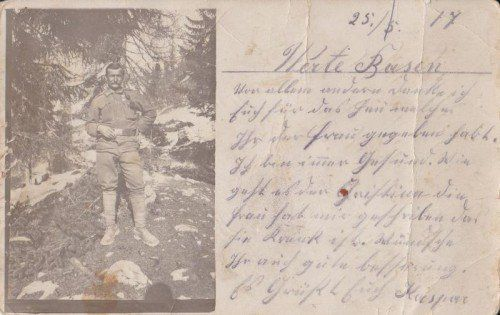 Feldpost mit Bild aus Italien: Kaspar Hutle bedankte sich 1917 bei seinen Cousins, dass sie seiner Frau Heu gegeben hatten. Fotos: Kaspar Hutle Jr.