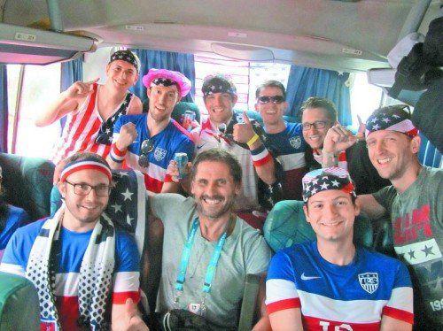 Im US-Partybus zum Spiel USA gegen Deutschland: Christian Adam.  privat
