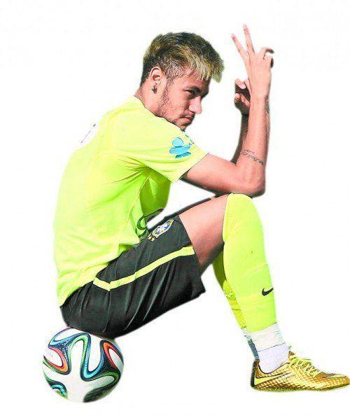 Neymar bleibt cool, obwohl ganz Brasilien von seinen Künsten abhängig ist. Foto: epa