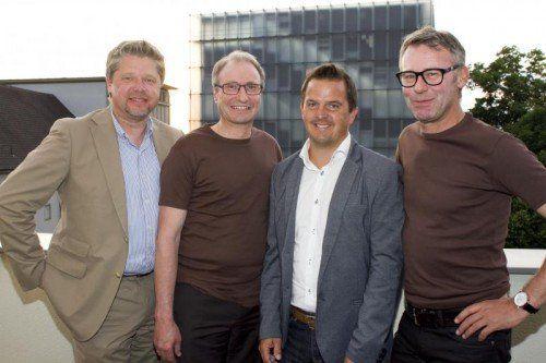vl, Gastgeber Heinz Koller (Wirtschaftsbund) mit Bruno Baldauf, Jürgen Kessler und Dir. Gerhard Sieber (Raiba)