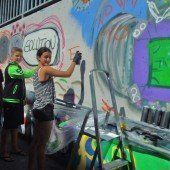 Graffiti-Glanz in Unterführung in Dornbirn Edlach