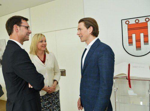 Markus Wallner, Beate Merk und Sebastian Kurz sprachen über den Fortschritt der EU-Alpenraumstrategie.  FOTO: VLK