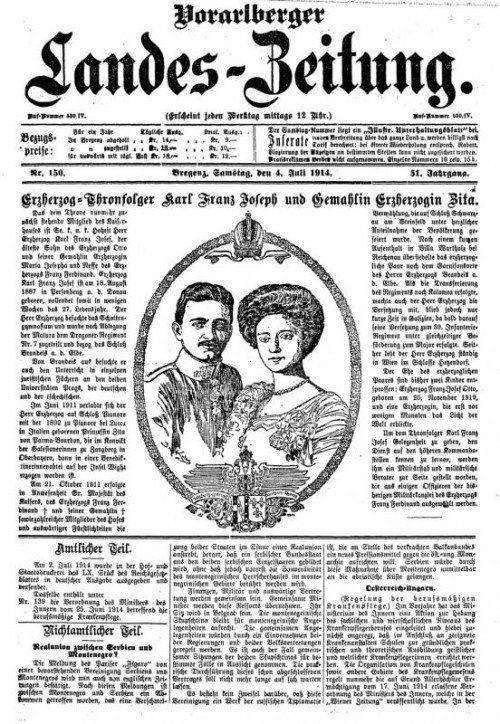 """""""Vorarlberger Landeszeitung"""" vom  4. Juli 1914. Foto: ÖNB/ANNO"""