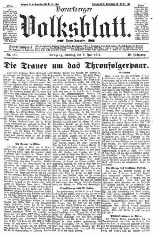 """Vorarlberger Volksblatt"" vom  5. Juli 1914. Foto: ÖNB/ANNO"