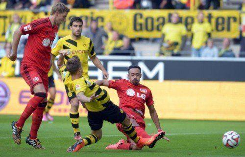 Karim Bellarabi erzielte gegen Dortmund bereits nach neun Sekunden das 1:0 für Leverkusen. Foto: epa