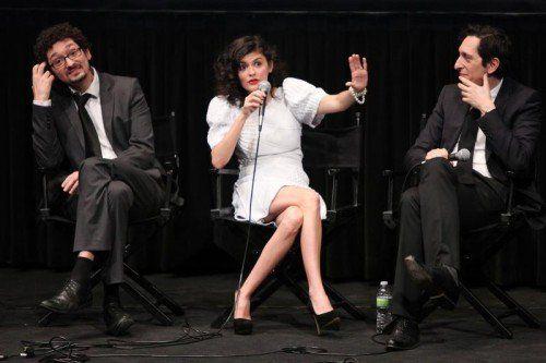 Schauspielerin Audrey Tautou mit Autor David (links) und Filmemacher Stéphane Foenkinos.  Foto: AP