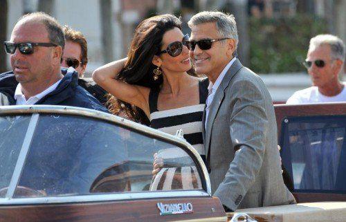 Ankunft in Venedig: Mit dem Wassertaxi wurden Clooney und Alamuddin ins Luxushotel Cipriani gebracht. AP