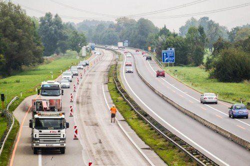 baustelle, a14, a 14, rheintalautobahn, zwischen dornbirn nord und dornbirn süd, blick von nord richtung süd