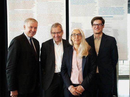 Botschafter Martin Eichtinger, Landesstatthalter Karlheinz Rüdisser, Renate Breuß, und Projektleiter Wolfgang Fiel