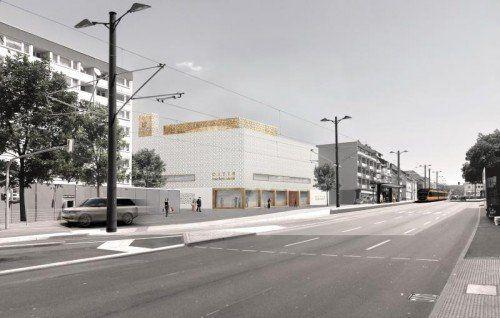 Das Kulturzentrum mit Moschee nach Plänen des Vorarlberger Architekten Bernardo Bader soll in Heilbronn im Jahr 2019 eröffnet werden. Rendering: Bader
